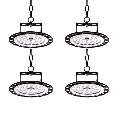 4PCS 100W 10000LM Lámpara Industrial, 6500K Led Iluminación Comercial UFO LED Lámpara Alta Bahía, Ultra Brillante UFO LED Iluminación Focos Led Lámpara de Techo para Fábricas Almacén Aeropuerto