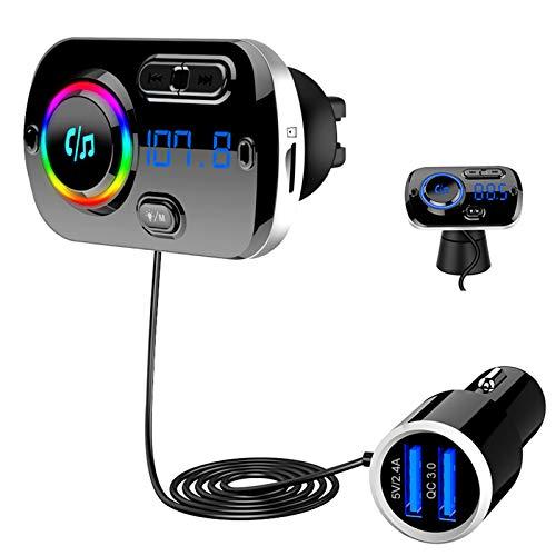 Bluetooth 5.0 FM Transmitter, SONRU Auto Bluetooth Radio Adapter Freisprecheinrichtung KFZ MP3 Player Kit mit QC3.0 Schnellladung, Unterstützungs TF Karte AUX Ausgang, Siri Google, 7 LED Farblicht