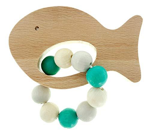 Hess houten speelgoed 10126486 grijpfrassel vis, grijpsteen van hout, voor baby's vanaf 0 maanden, circa 11 x 7 x 5 cm, turquoise