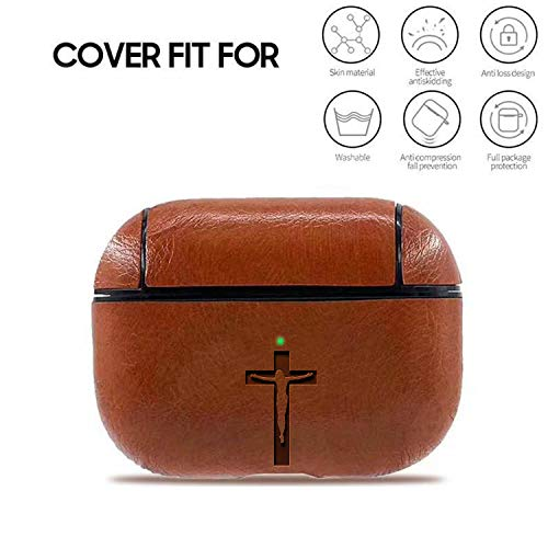 Jesus Art Cross (BROWN) Leather Apple Air Pods Pro Protective Engrave Case - A Luxury Cover for Your Airpods - Premium Pu Leather and handmade by Master Craftmen .