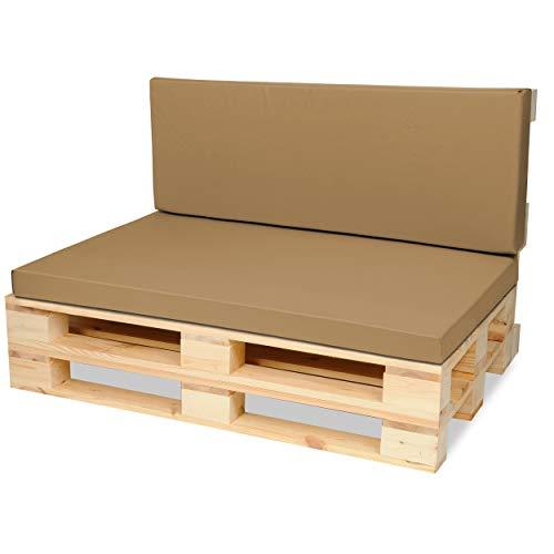 SuperKissen24. Materasso Cuscino per Bancale Divano Pallet 120x80 con Schienale 120x40 cm Seduta Impermeabile e Comodo per Divanetti da Esterno - Beige