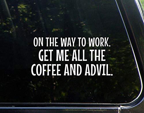 DKISEE Sticker waterdicht vinyl 6 inch op de weg naar het werk. krijg me alle koffie en advil autos, ramen, spiegels, laptops, mobiele apparaten sticker sticker