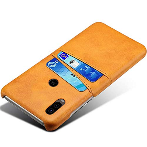 HualuBro Handyhülle für Moto One Vision Hülle, Premium PU Leder Ultra Slim Tasche Cover Stoßfest Bumper Hülle Schutzhülle Lederhülle Backcover für Motorola Moto One Vision 2019 (Orange)