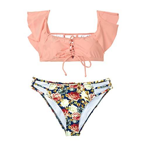 D&STBKI - Conjunto de bikini de dos piezas, traje de baño para niña o playa multicolor XXL