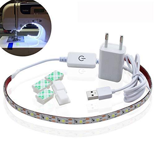 Linghuang licht voor naaimachine, verlichtingsset, LED, voor machine, lichtstrips, lichtstrips, lichtstrips, lengte verstelbaar, sterke lijm, USB-voeding, Wit.