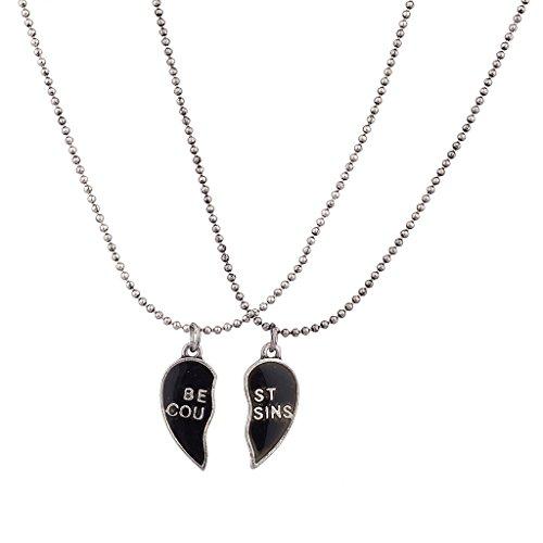 Lux Accessories Burnish Silver Best Cousins Mood Detachable Heart Necklace Set (2pc)