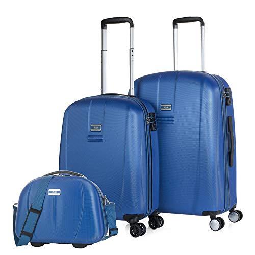 JASLEN - Set di 2 valigie e beauty case Rigid, resistente e leggero. Maniglia ABS Telescopica, 2 maniglie, 4 doppie ruote. Blocco TSA. Piccole e medie. 56515B, Color Blu