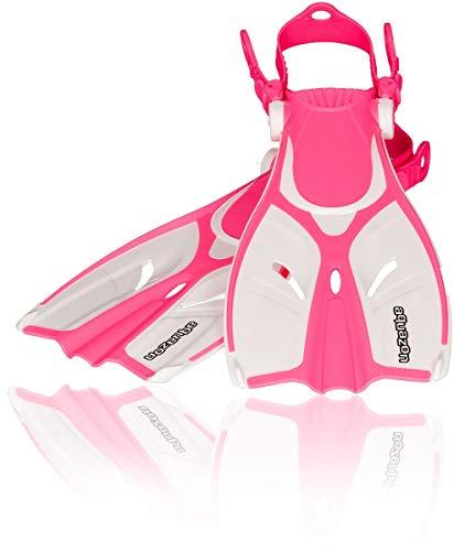 AQUAZON Style Verstellbare Flossen, Schnorchelflossen, Taucherflossen, Schwimmflossen für Mädchen und Damen zum Schnorcheln, Schwimmen, Farbe:pink, Größe:32/37