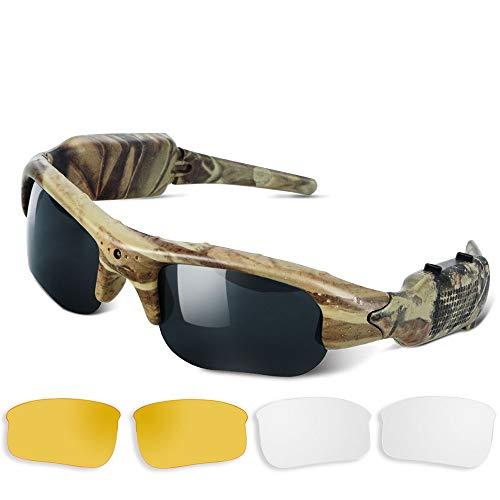 Camuflaje Cámara Oculta Gafas de Sol - Secreto Grabador de Video Espía con Lente UV400, Soporte de Toma de Fotos y Grabación de Voz, Tarjeta de Memoria de 16GB Incorporada