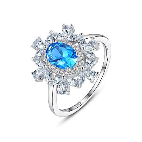 Esberry Prinzessin Diana William Kate Ring Verlobungsring damenring 925 Sterling Silber Eingelegter Zirkonia mit Zwei Edelsteinfarben Ring Mehrere Größenoptionen