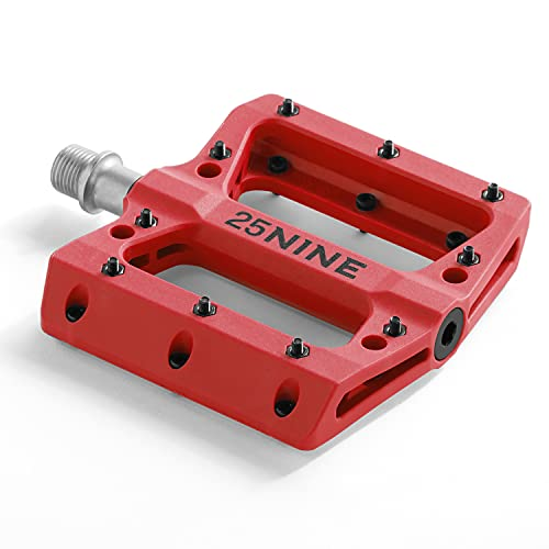 25NINE Bushido BMX Platform Pedals - Durable Thermoplastic Bike Pedals for BMX and MTB - Red