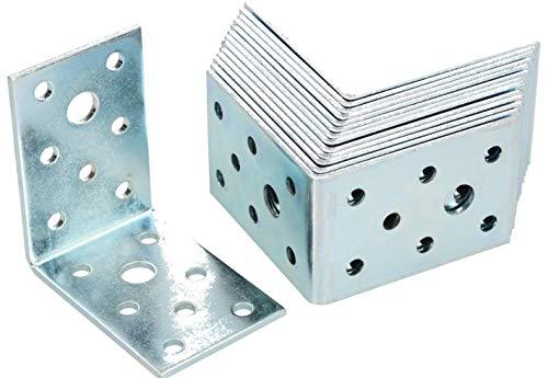 KOTARBAU Winkelverbinder 60 x 60 x 40 mm Stahl Bauwinkel Montagelöcher Möbelwinkel Verzinkt Schwerlast Holzverbinder Montagewinkel Stuhlwinkel (50)