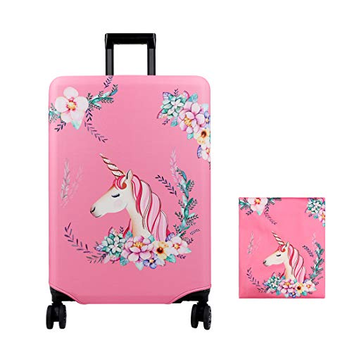 YOUTHUNION 18-32 Inches Flamingo Luggage Cover Elastic Suitcase Protective Cover Travel Luggage Trolley Case Cover Protector (L, Unicorn)