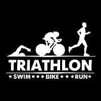 Yang1995 17.5x 11センチメートルトライアスロン選手、水泳、自転車の走行車のステッカー装飾的なアクセサリーのトランク (Color : White)