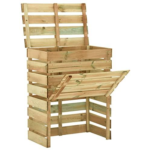 vidaXL Bois de Pin Imprégné Composteur de Jardin à Lattes Bac à Compost Conteneur d'Engrais Déchets Feuilles Arrière-Cour Extérieur 80x50x100 cm