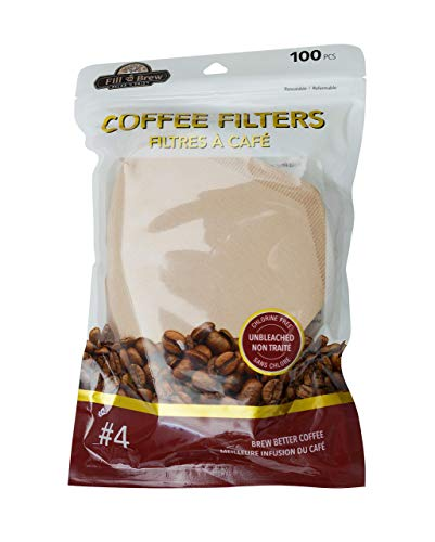 Fill 'n Brew Disposable #4 Coffee Filters, Cone Shape, Unbleached & Eco Friendly - 100 Count per Pack