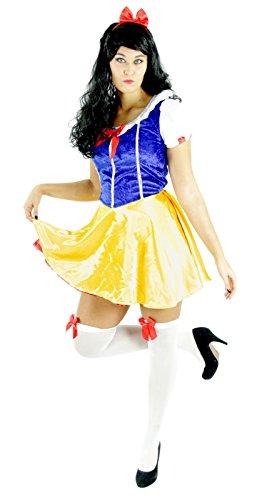 Foxxeo Schneewittchen Kostüm für Damen mit Kleid und Haarreif für Fasching Karneval Märchen Motto-Party Größe L
