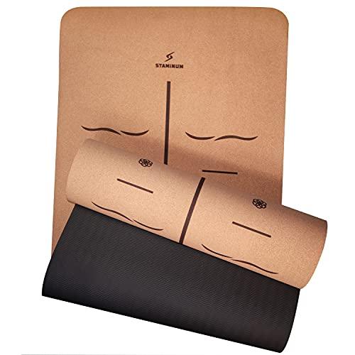 Yogamatte Kork Nachhaltige Yoga Matte mit Leitungssystem- beidseitig rutschfest perfekt für Hot Yoga Sportmatte aus Kork & umweltbewusste TPE mit Tragegurt für Fitness Pilates Maße 183x61x0,5 cm