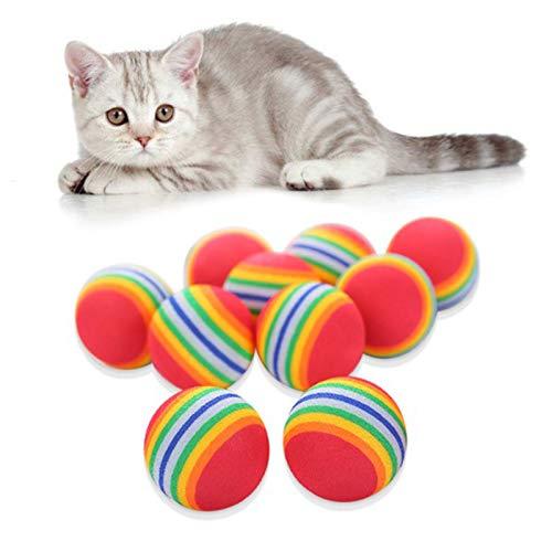 Palline per Animali Schiuma Giocattoli Gatto Animale Domestico Giocattoli Interattivi Colorate Pet Forniture Gattino Palle Gatti Arcobaleno Masticare Palle per Cani Cat Play Esercizio e Formazione