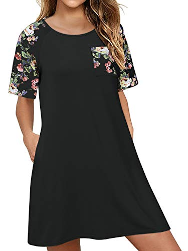 CNFIO Vestidos Mujer Verano Manga Corta Vestidos Cortos Casual Camiseta Larga Mujer Cuello Redondo A-Negro M