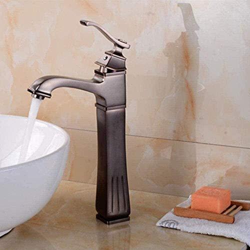 Faucetsbrass Falda marrón cepillada Diseño de péndulo Mezclador de baño alto Grifo de montaje en cubierta Grifo de fregadero caliente frío