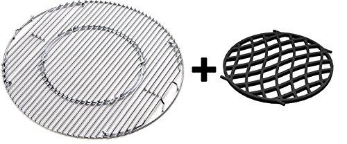 JX BBQ System - Edelstahl Grill für 57 cm Kessel Grill + Gusseisen \'Sear Grate\' für Gourmet-Grill-System
