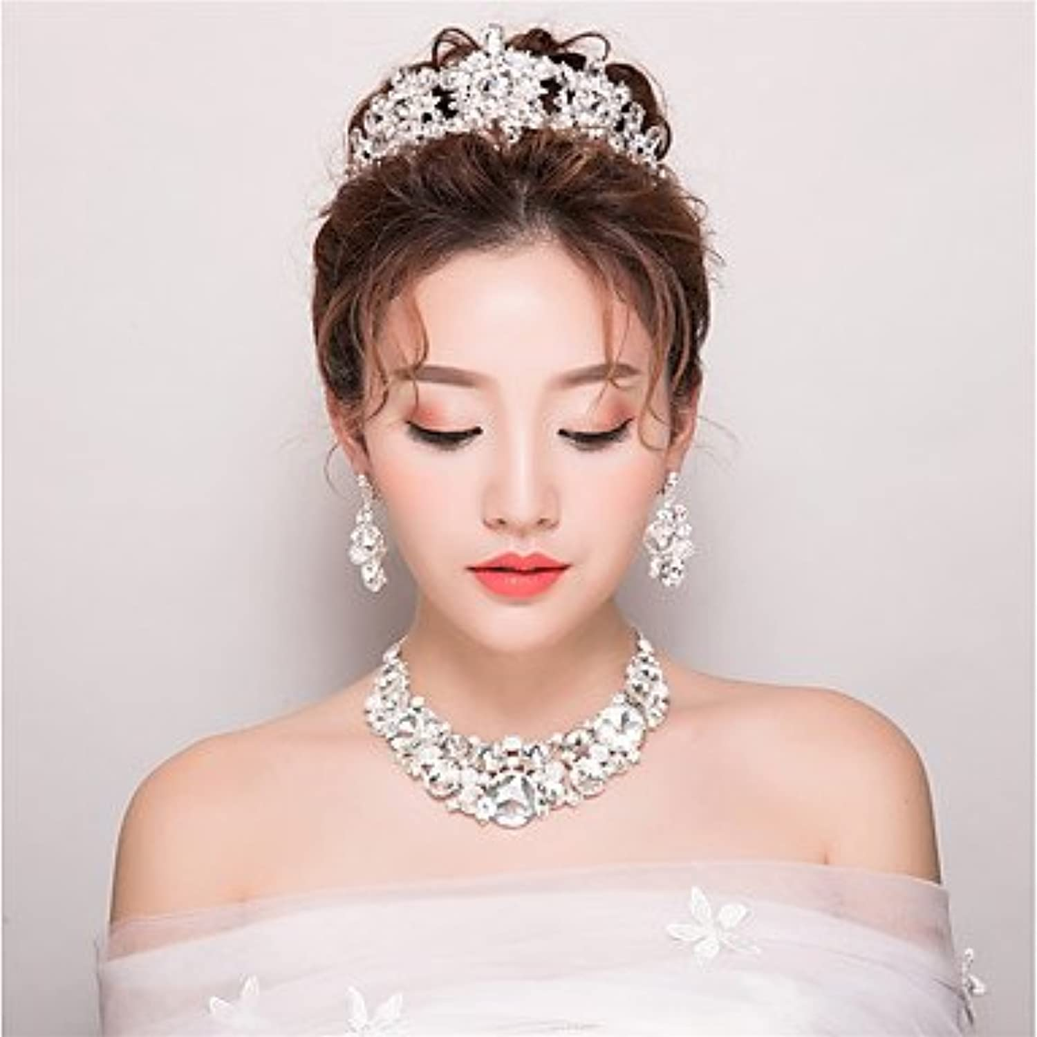 Halloween headdress Rhinestone Jewelry SetsWedding Special Occasion Birthday Party  Evening Necklace Earrings 3Piece Set Christmas headdress