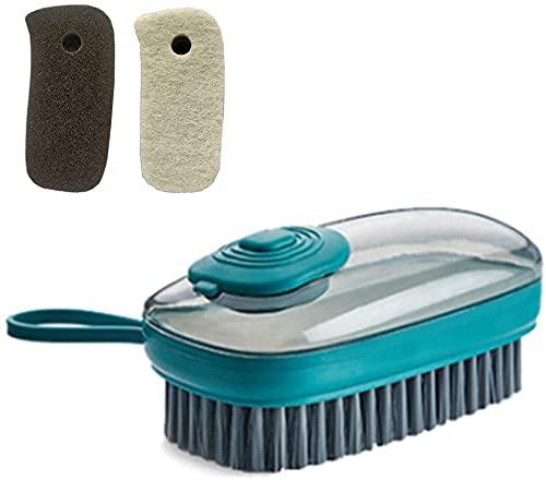 Dispensador de jabón con cepillo de limpieza para el hogar, cepillo para la ropa, buen limpiador para baño, cocina, ducha, lavabo, alfombra (verde)