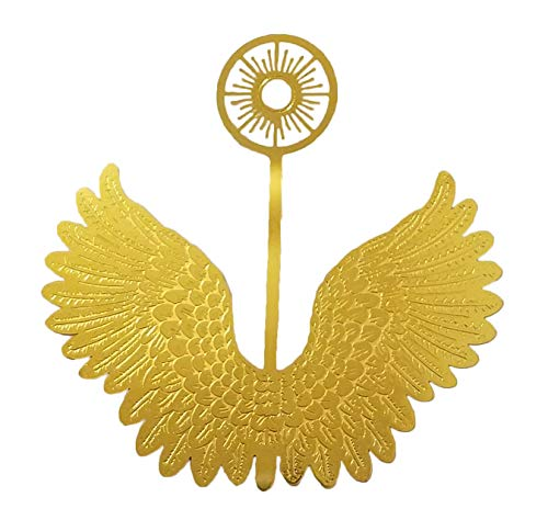 3' Miniature Gold Metal Filigree Angel Wings with Halo (Pack of 12)