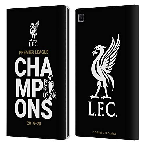 Official Liverpool Football Club Black Typography 2020 Champions PU Leather Book Wallet Case Cover Compatible For Samsung Galaxy Tab S6 Lite