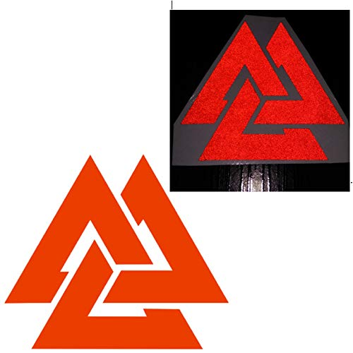 CUSHYSTORE 3' Valknut Triangle Knot Rings Runes Celtic Reflective Decals Vinyl Sticker for Car Laptop Hardhat Red, 2 Packs