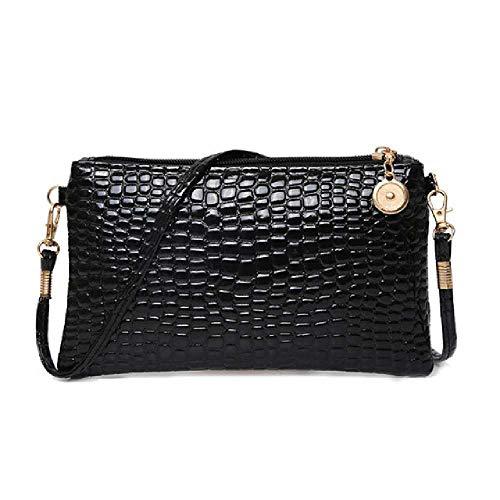 wangtao Frauen Candy Farbe Alligator Muster Tasche Handtaschen Umhängetasche Kleine Tote Damen Kleid Accessories Schwarz