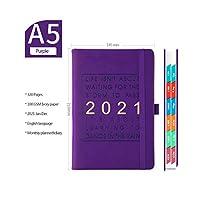この2021年のスケジュールと英語の厚みのあるノートブックA5レザーソフトカバー学校日記オフィス事業計画文房具を計画する-Purple-A5