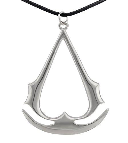 Hanessa Bijou pour homme en argent - Symbole d'assassassin's Creed - Symbole médiéval Assassin's Creed - En cuir synthétique - Cadeau pour un ami ou un homme