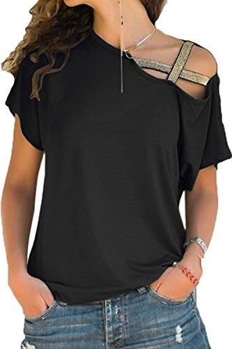 La Mujer De Manga Corta T - Shirt Plus Size Tops Hombro Frio Black XXL