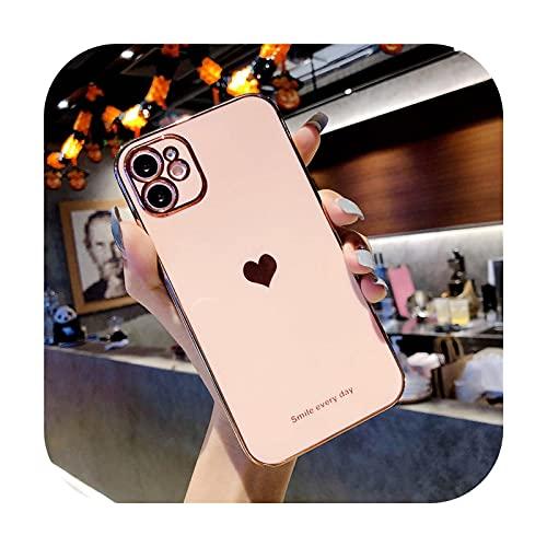 Moda amor corazón chapado teléfono caso para iPhone 12 Pro Max 11 Pro Max XS Max 7 8 Plus X XR 12 Mini SE 2020 lindo suave TPU Coque-rosa para iPhone 11Pro Max