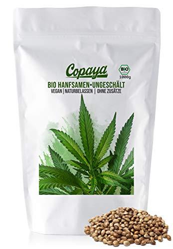 Copaya Bio Hanfsamen ungeschält, ganze Hanfnüsse vegan & naturbelassen, Hanfsaat mit Schale 1000g (1kg)