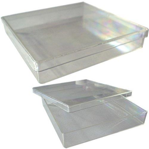 5 X Etui Klarsichtbox (transparent) Schachtel, Aufbewahrungsbox, Kästchen Kunststoff-Dose/Hardbox; Innenmaße: B=10 cm, T= 10 cm, H= 1,7 cm [Kunststoffbox, Aussenmaße/Deckelmaße: 10,7 cm X 10,7 cm, Gewicht pro Box: 47 g ]