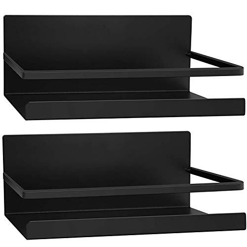 2 Stück Kühlschrank Regal Hängeregal für Kühlschrank Magnet Magnet Gewürzregal mit Ablage Küchenregal Küchen Organizer Aufbewahrung (Schwarz)