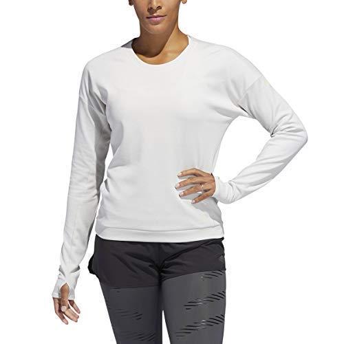 adidas Women's Supernova Run Cru Sweatshirt, White/Raw White, Small