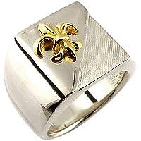 メンズ イエローゴールドk18 18金 コンビリング 印台リング 幅広 指輪 ユリの紋章 シルバーリング ピンキーリング 地金リング 宝石なし 百合 フルール・ド・リス 18金 13