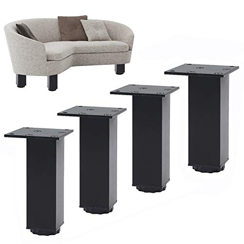 4 Piezas Patas para Muebles de Metal, Patas de Mesa de Altura Ajustable de 0-15 cm, Pies para muebles Patas de Muebles Aleación de Aluminio para Armarios Mesa Cama Sofá Gabinete