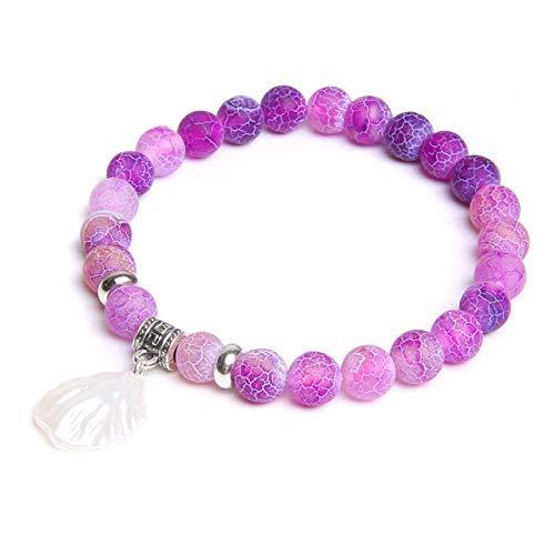 Pulsera de piedra, cuentas de flores de perlas para mujer, pulsera con dijes, piedra natural hecha a mano, cuentas de jades azules, brazalete de energía de yoga curativo para regalos de joyería femen