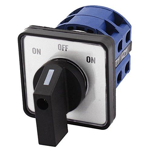 Interruptor de cambio - SODIAL(R) AC660V 25A 2 polos 3 posiciones Interruptor de cambio giratorio de plastico momentaneo Azul + Negro