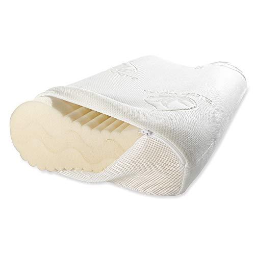 maxVitalis Höhenverstellbares Nackenstützkissen, orthopädisches, ergonomisches Kopfkissen, anatomisches Kissen mit Memory Foam, inkl. Aloe Vera Klima-Bezug (60 x 35 cm, Viskoschaum)