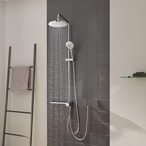 CECIPA Cronus H302C | Duschsystem ohne Armatur | Duschsäuleset mit Ablage | Regendusche Duschkopf und Handbrause mit 3 Strahlarten | Rund 23 x 23 CM | Chrom und Weiß