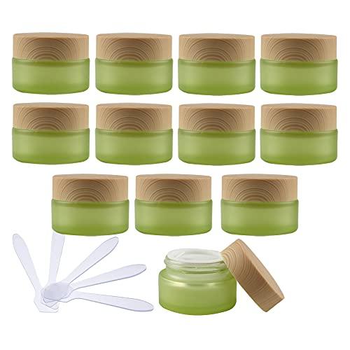 TIANZD 12 Pieza Vacíos Verde Envases Cosmética Vidrio 20 ml Tarro de Cosmética de Cristal 20 g con Inners Tapa Botella de Crema para Cremas Hidratantes Loción Ungüento