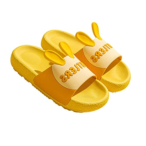 Boys Girls Slides Sandals Slipper for Toddler, Summer Beach Shoes, Non-Slip Water Shoes, Outdoor Sandals Soft Sole Slippers(Toddler/Little Kid/Big Kids) (Color : Yellow, Size : Length19)