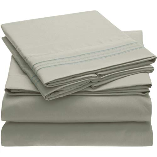Mellanni Bed Sheet Set - Brushed Microfiber 1800 Bedding - Wrinkle, Fade, Stain Resistant - 4 Piece (Queen, Spa Mint)