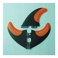 サーフボード アウトドアスポーツ カーボンフィンとIIボックスサーフフィングラスファイバーのためのサーフ幅広いフィンMサイズブルーレッドイエローオレンジ (Color : 2)